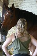 Femme avec un cheval, séance d'équicoaching