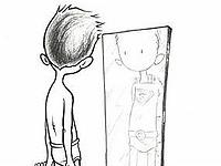 Personnage se regardant dans un miroir