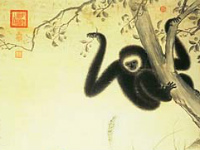 Gibbons at Play The Hsuan-te Emperor (1399-1435) dated 1427 Hanging scroll, ink and color on paper  © National Palace Museum, Taipei