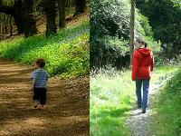 2 photos, 1 bébé et une femme marchent sur le même sentier, à quelques années d'intervalle