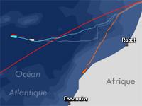 Route du bateau de Franck Cammas