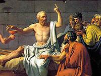 ironie socratique - détail de La Mort de Socrate, par David (1787)