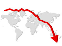 Courbe qui chute vers zéro, sur un planisphère