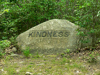 """Mot """"Kindness"""" gravé sur un rocher"""