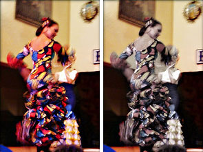 Danseuse de flamenco, photo en 2 versions, couleurs et noir/blanc