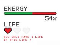 """Jauge d'énergie à 54%, mention """"une seule vie restante"""""""