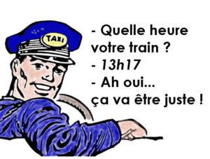 Chauffeur de taxi demandant à son passager l'heure de son train