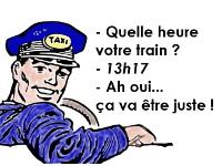 """Chauffeur de taxi qui dit """"ça va être juste pour votre train"""""""