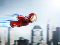 Iron Man en Lego survole la ville, incapable de ralentir ?
